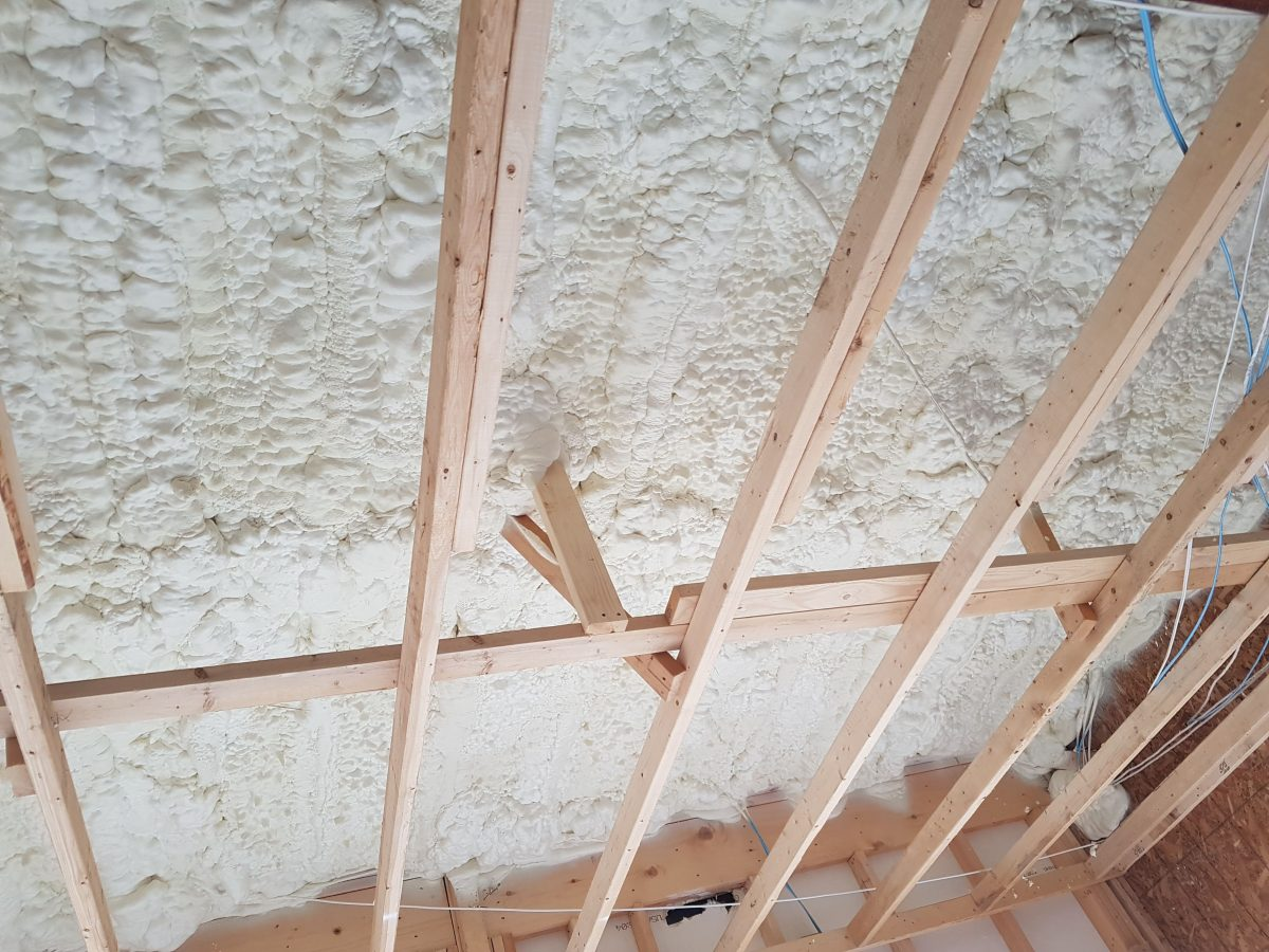 Spray foam insulation in an attic in st. thomas